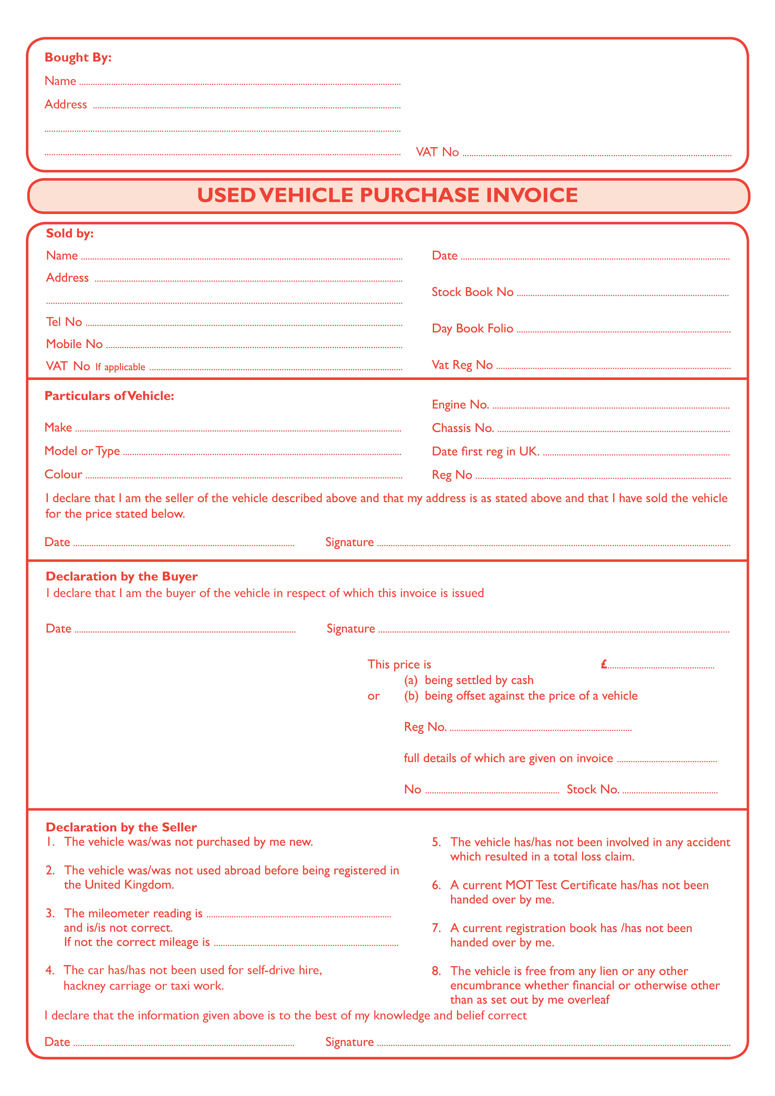 Used Car Invoice Geccetackletartsco - Invoice pads